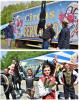 """Bürgermeister René Straßberger freute sich unlängst über eine artistische """"Kostprobe"""" von Familie Renz. // Die Artisten in ihren Auftrittskostümen.   Fotos: Freundeskreis Zirkuskunst Piccolino & Bernardo"""